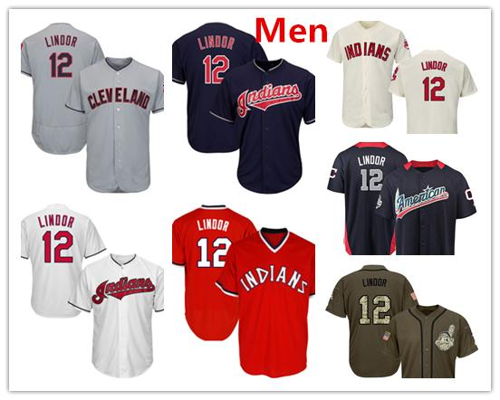 buy online 05d84 70ce9 2019 Mens Cleveland Indians Baseball Jerseys 12 Francisco Lindor Jersey Red  Navy Blue White Grey Gray Cream Green Salute From Jerseys4all, $18.1 | ...