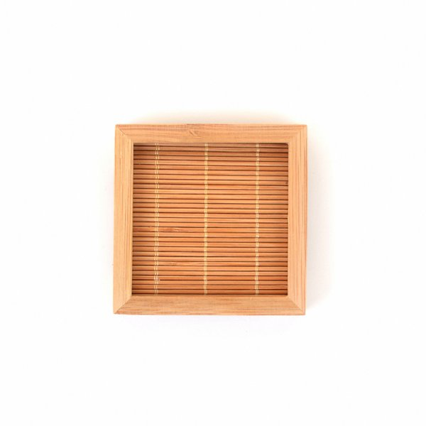 Lots Natural Bamboo Teacup Square Saucer Smaill Tea Cup Pad Decor Mat 100x100mm Natural Table Kitchen Carft Drop Shipping