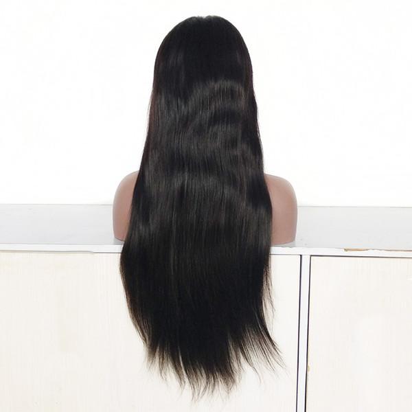 22-Zoll-Mittelteil brasilianische Echthaar volle Spitzeperücke, 150% Dichte billige indische Haar natürliche Farbe Lace Front Perücke