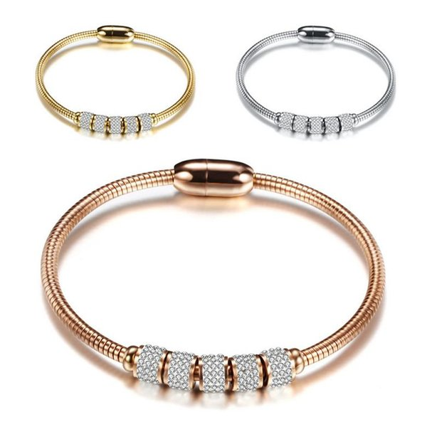 Titanium Steel Bracelets Elegant Fashion High Quality Zircon Charm Bracelets Wholesale 18K Gold Plated Stainless Steel Bracelets LBR043