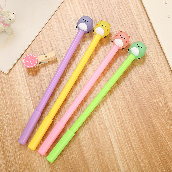 5pcs candy color 0.5mm black ink cartoon fatty bear signature gel pen stationery office school writing supply kids neutral pens