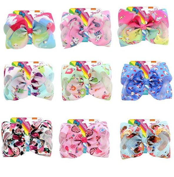 """Drop shipping 8 Inch""""jojo Girls Siwa Unicorn Collection Coral Colorful Hairpin Large Hair Bows Hair Accessories For Girls 10pcs"""
