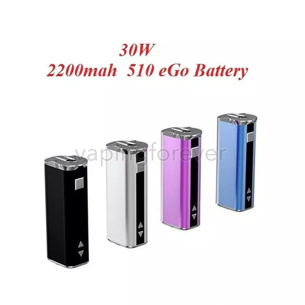 E-cigarette Mini 30W Battery Mod Kit 2200mah 30W eGo 510 Thread Battery Adjustable Voltage OLED Screen Mods With 510 Connector USB Cable