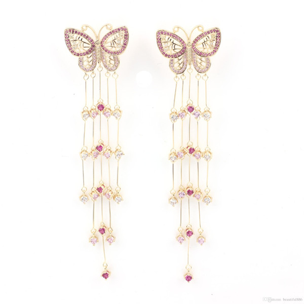 Butterfly Long Tassel S925 Sterling Silver Stud Earrings Exaggerated Atmospheric Drop Net Red Tassel Show Face Thin Dangles Chandelier