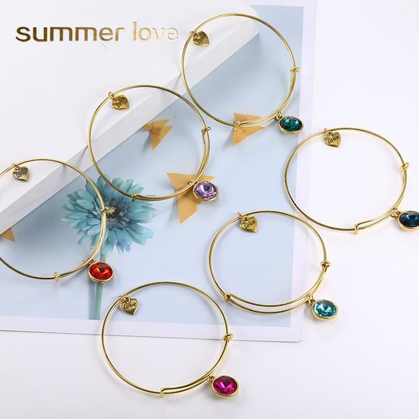 Venta caliente Birthstone Vintage Gold Expandable Wire Love Charm Bracelet Brazaletes para mujeres DIY Brazalete Amigo Regalos de cumpleaños al por mayor