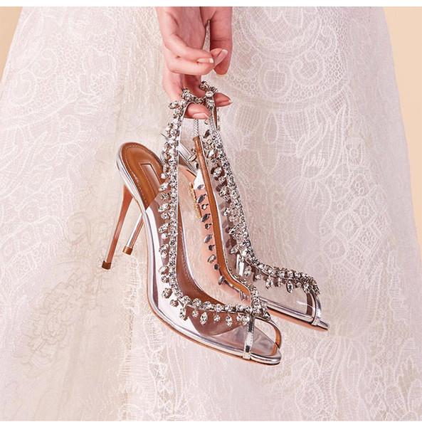 2019 zapatos del diseñador zapatos de boda magníficos del dedo del pie del pío de vestido de novia Rhinestone de plata zapatos hechos a mano Jeweled cristal Prom Party