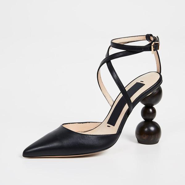 Женские сандалии дизайнерские туфли Туфли на каблуках Les Camil Деревянные остроконечные пальцы с ремешком Замшевые туфли с геометрическим каблуком Сандалии