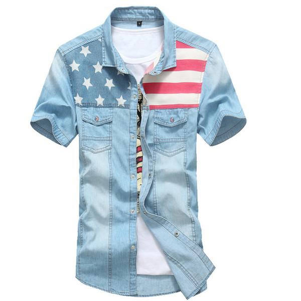 Uomini Nuova estate Bandiera americana Jeans blu Camicie Moda uomo Patchwork Casual lavato Camicia di jeans a manica corta Camicia Homme