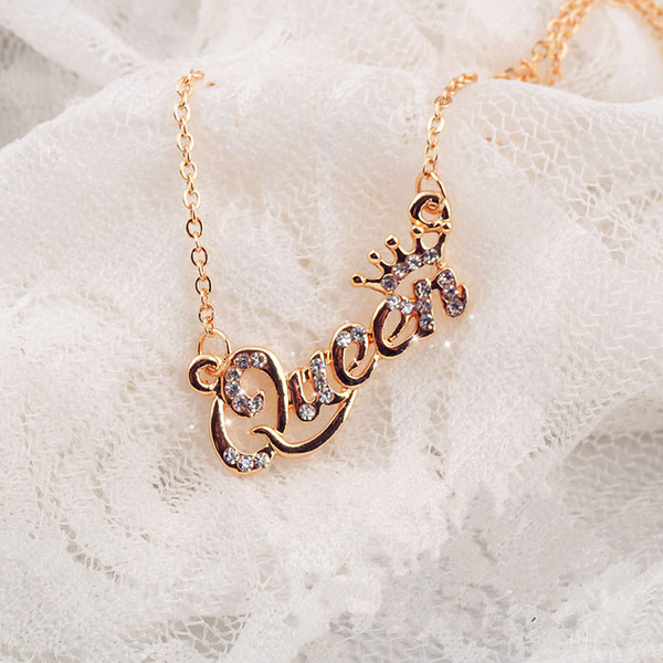 best selling Gold-Color Queen Crown Chain Necklace Zircon Crystal Necklace Women Fashion Jewelry Birthday Present 3 color for choice