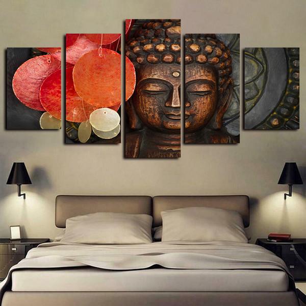 5 pannelli Buddha Arte Buddismo Statua Meditazione Ritratto Opere giclée su tela astratta di arte della parete Tela stampa della pittura a olio della decorazione della parete