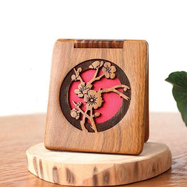 Резные Зеленое Зеркало Сандалового дерева Двусторонняя Зеркало Для Макияжа Портативные Карманные Зеркала Свадьба Пользу Подарок Оптовая ZC0313