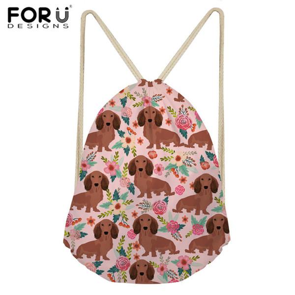 FORUDESIGNS Drawstring Bag Sports Women's Backpack Dachshund Dog Printing Sport Bag for Women Fitness Gym Sack Training Daypack