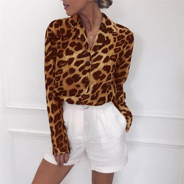 Kadın Leopar Şifon Bluzlar İlkbahar Yaz Moda Kısın Yaka Gömlek Uzun Kollu Tees