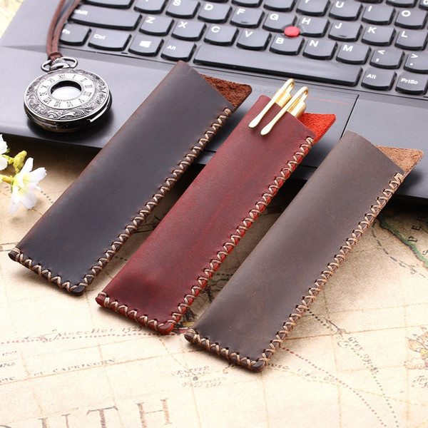 Vintage Retro Style Handmade Genuine Leather Pencil Bag Cowhide Fountain Pen Case Holder Accessories For Travel Journal