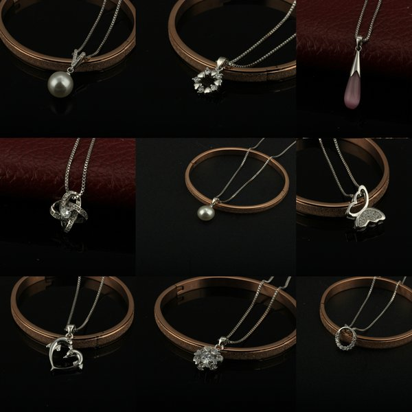9 Style 925 Silver Plated Platinum Pendant Necklaces Box Chain Crown Pearls CZ Zircon Crystal Opal Pendants DIY jewelry