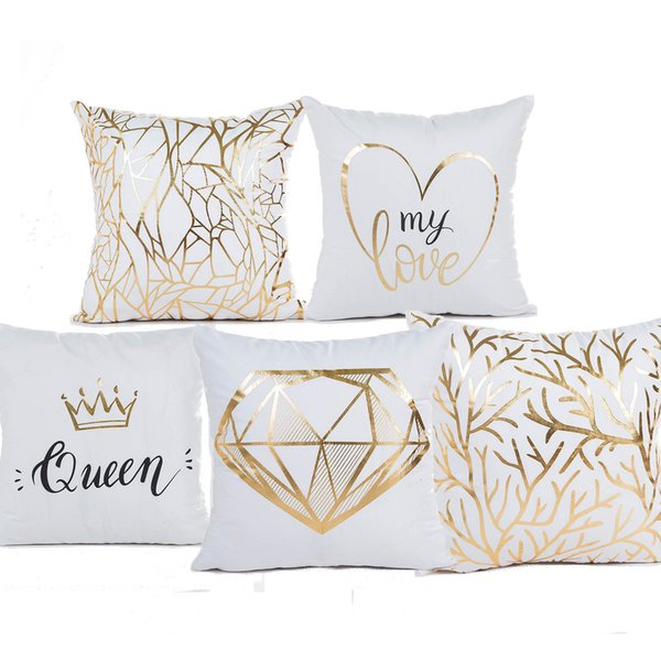 Queen Crown LOVE Heart Growth Ring Bronzing Cushion Cover Pillow Covers 45X45cm Decorative Sofa Chair Pillow Case Room Decor