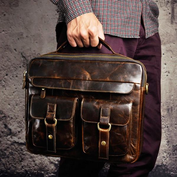 """Men Quality Leather Antique Travel Business Briefcase 13"""" Laptop Case Attache Portfolio Bag One Shoulder Messenger Bag B207c #251446"""