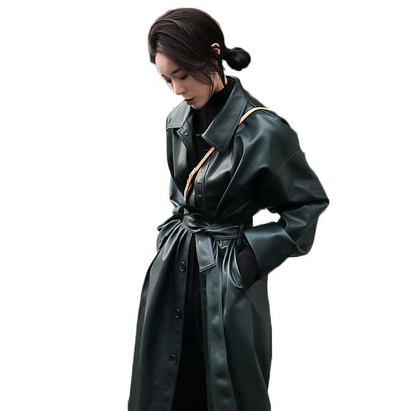 Wsyore Cool Chaqueta larga de cuero 2019 Nueva primavera Mujer Cinturón suelto Pu Leather Windbreaker Trench Coat Slim Autumn Jacket Ns939 T190823