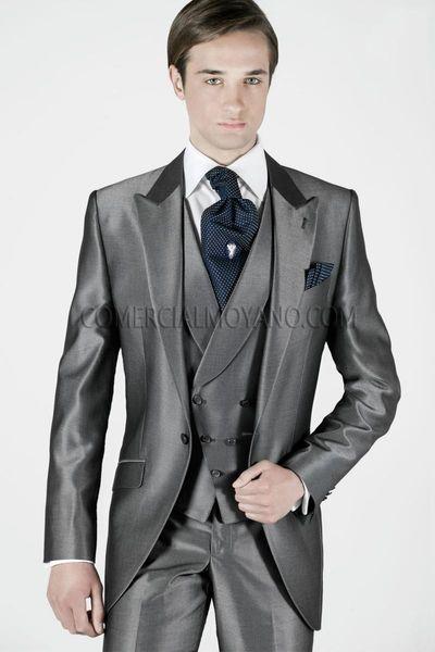 Fashion Grey Satin Groom Tuxedos Slim Fit Groomsmen Mens Wedding Dress Handsome Man Jacket Blazer 3 Piece Suit(Jacket+Pants+Vest+Tie) 917