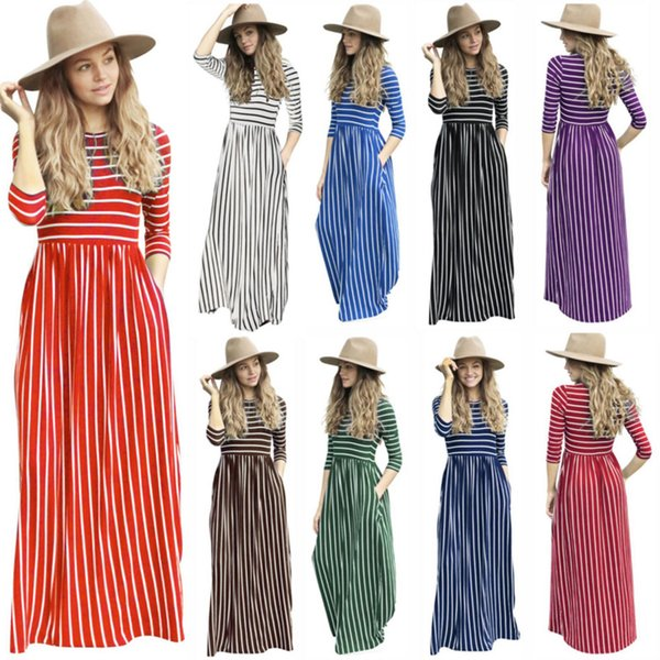 Plus Size Striped Print Pin Up Vintage Maxi Dress Women Fashion Autumn  Tunic Slim Long Style Casual Party Pocket Robe Big Swing 6494 White Dresses  For ...