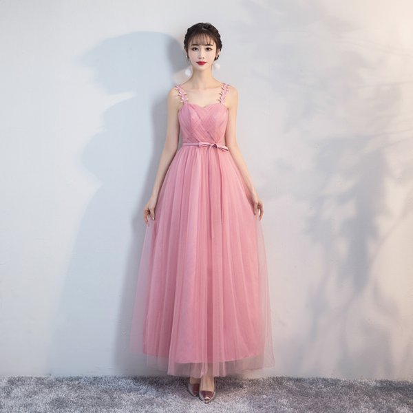 Red Bean Pink Color Long Yarn Mesh Abiti da damigella d'onore Wedding Party Dress Floreale Retro