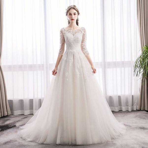 Abiti da sposa Boho con applicazioni in pizzo 2019 maniche abito da sposa in pizzo collier dos nu mariage
