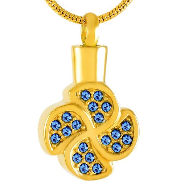 IJD9541 Acero inoxidable Cristal azul Tréboles de cuatro hojas Colgante de oro Collar Urna Memorial Recuerdo para cenizas Joyería de cadena