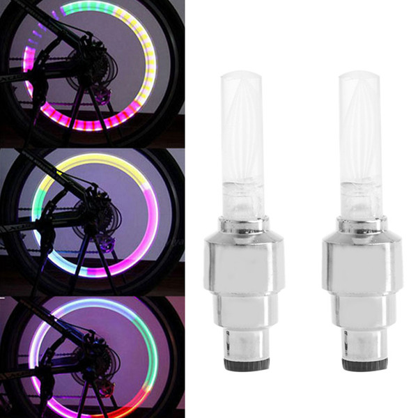 2Pcs Waterproof, Shockproof. Bike Lights Bicycle Tyre Tire Valve Caps Wheel Spokes LED Light 7 Color