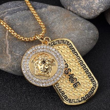 Legal Nova moda Punk medusa hip hop Ouro neckalce Prata metal dog tag com diamantes pingente colares Hip Hop Jóias para Homens Wome