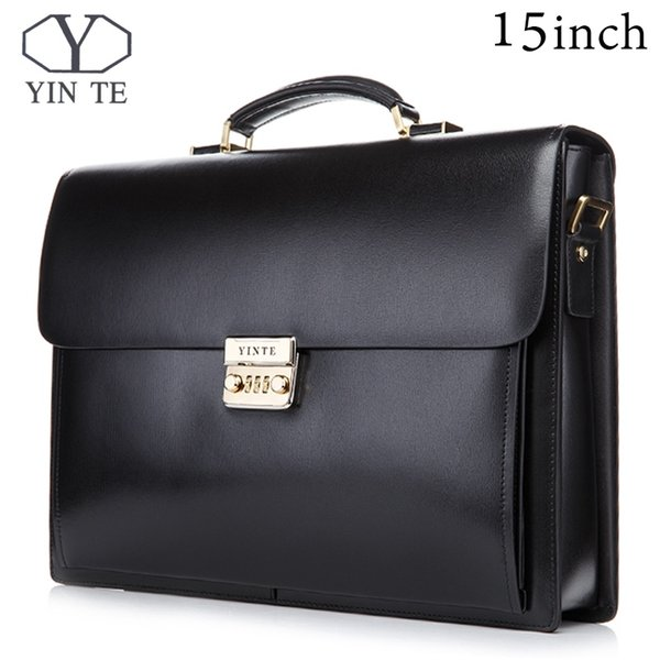 YINTE 15 inch Leather Briefcase Men's Big Briefcase Style Bag Black Laptop Bags Lawyer Handbag Document Portfolio Totes T8158-6 #226316