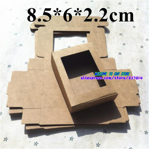 Scatole artigianali del mestiere del regalo al minuto della scatola di carta Kraft del sapone fatto a mano della scatola di piccola finestra Trasporto libero su ordinazione