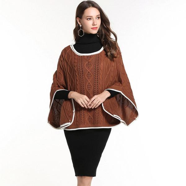 Übergroße Pullover der Frauen plus Größenmantelfallkleidung Zopfmusterstrickjackedamenpullover beiläufige Ponchooberteile ZJ046
