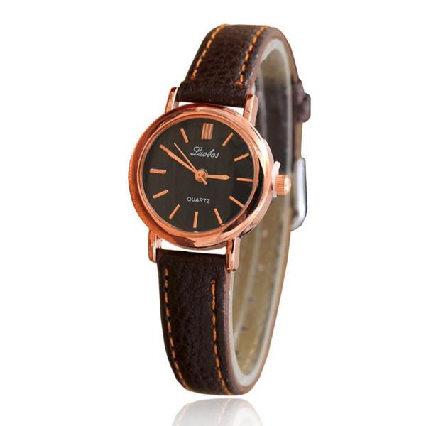 Sencillo reloj elegante para mujer, números romanos, relojes de esfera pequeña, estilo empresarial, reloj de pulsera de cuarzo de cuero informal para mujer #Zer