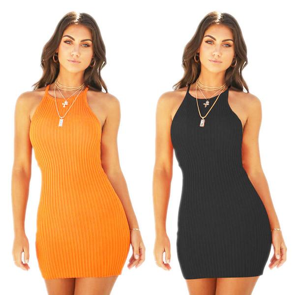 Vestiti da donna Sexy Backless Spaghetti Strap Summer Dress Cotton Ladies Elastico Bodycon Black Yellow Party mini abiti