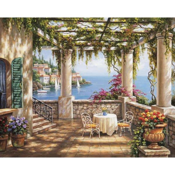 Compre Arte En Lienzo Pinturas Al óleo Mañana Terraza Ilustraciones De Paisajes Mediterráneos Pintados A Mano A 126 64 Del Reeme Dhgate Com