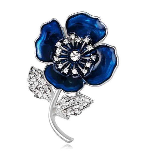 Blue Red Flowers Brooch For Women Silver Alloy Pins Brooch Female Vintage Ornament Rhinestone Jewelry Brooch