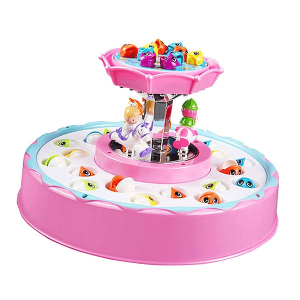best selling Electric Fishing Game Toy Set Double-Layer Rotating Board Kids Toy