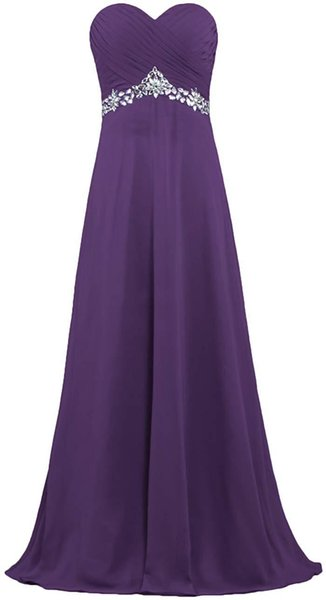 Purple Royal Blue Sweetheart Neckline Chiffon Bridesmaid Dresses with Beads 2020 Floor Length Party Dress Lace Up