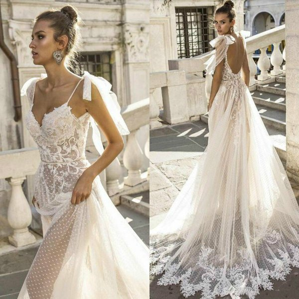Discount Sexy Boho Wedding Dresses Spaghetti Straps Illusion Lace Backless  Bridal Gowns Vestido De Novia Beach Wedding Dress Wedding Dresses Under 300