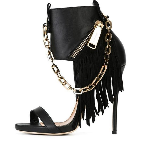 2017 ZK shoes new arrival very sexy womens stiletto sandals with tassels & metal chain size US4~12.5