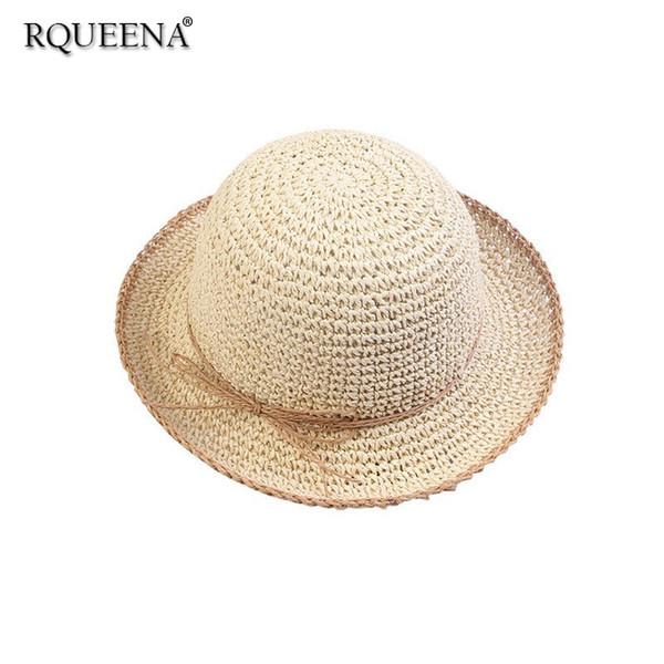 Rqueena Korean Women's Hat Black/White/Blue Summer Hats For Women Sun Hat Womens Fashion Woman Summer Beach Straw Hat SU007