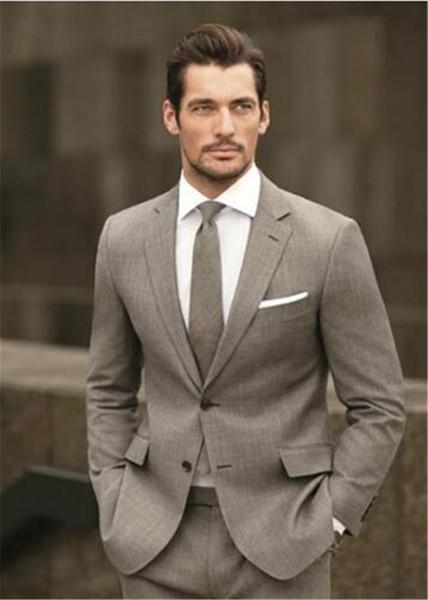 Trajes De Hombre Feito Sob Encomenda Luz Marrom Dos Homens Terno Anzug Herren Ternos de Casamento Para Os Homens 2 Peças Terno Masculino (Jacket + Pants + Tie)