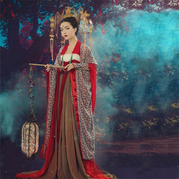 Estudio asiático fotografía China Japón Corea tema tailandés Hanfu mujeres vestido antiguo Fairy Queen Outfit Princesa espectáculo de escenario Traje
