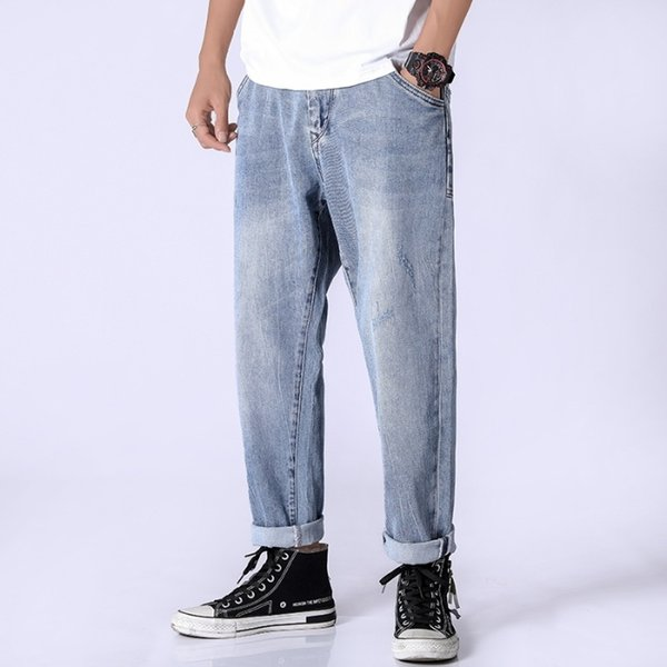 Straight Male Jeans 2019 New Arrival Broad-Legged Pants Street Dance Style Hip-hop Jeans For Men