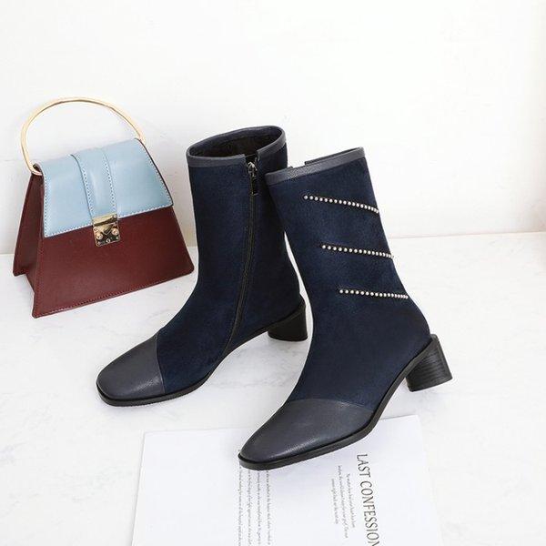 Big Size 9 10 11 12 bottes femmes chaussures bottines pour femmes dames bottes chaussures femme hiver diamant tissu patchwork décoratif