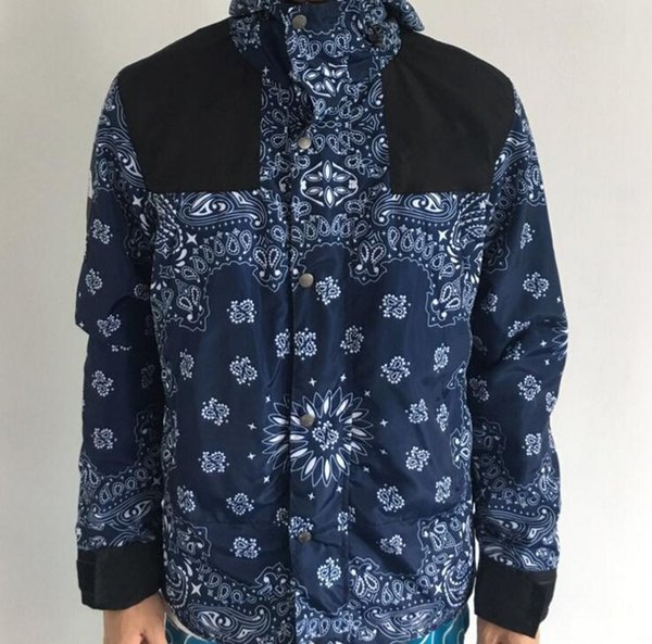 Desinger Giacche Uomo Hip Hop Sciolto Stampa floreale Giacche a vento Streetwear Marca Giacche da neve con cappuccio Hommes Capispalla