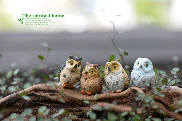 4 نمط لطيف الاصطناعي التماثيل البومة المنمنمات الطيور الجميلة الجنية حديقة غنوم الراتنج الحرف ديكورات اكسسوارات للمنزل
