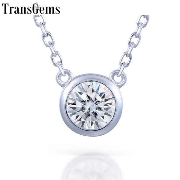 Transgems Platinum Plated Silver Sterling 925 1ct 6.5mm H Color Moissanite Solitaire Pendant Necklace For Women Wedding Gift Y19032201