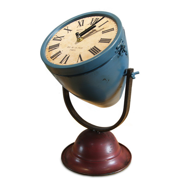 Vintage Desktop Table Antique Style Searchlight Shaped Iron Clock Display Model Custom Table Clock Standing Desk 50ZB073