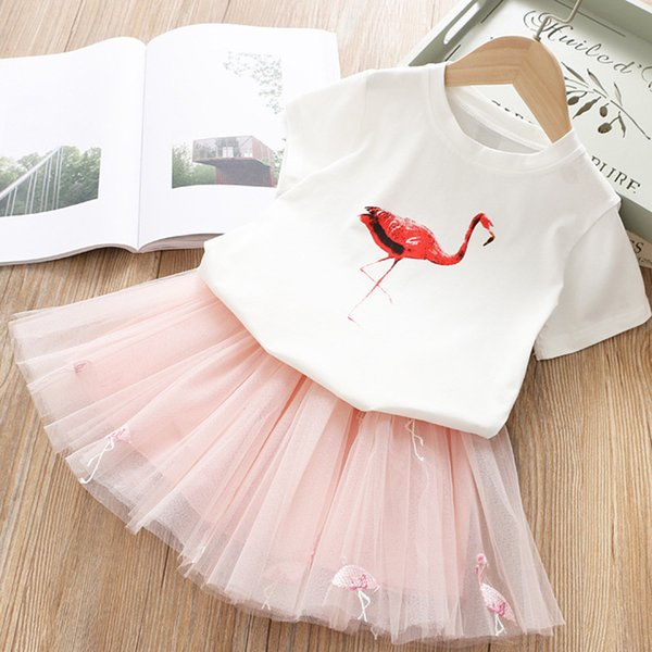 Flamingo embroideried baby girls summer princess dress set kids cotoon t-shirt+tutu cake layer skirts 2 pcs girl lovely outfits girl suit